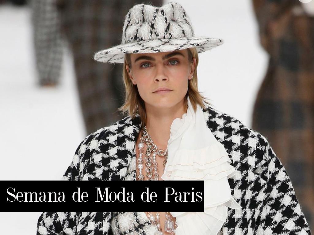 Look Chanel Cara Delavigne durante a Semana de Moda de Paris